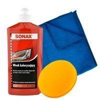 Wosk koloryzujący czerwony Sonax 500ml + aplikator + mikrofibra