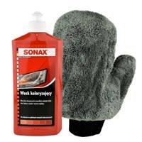 Zestaw: Wosk koloryzujący czerwony Sonax 500ml+ Rękawica z mikrofikry